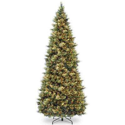 12 ft. Carolina Pine Slim Wrapped Tree with Flocked Cones and Clear Lights