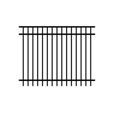 Cosmopolitan 5 ft. x 6 ft. Black Aluminum 3-Rail Unassembled Fence Panel (4-Pack)