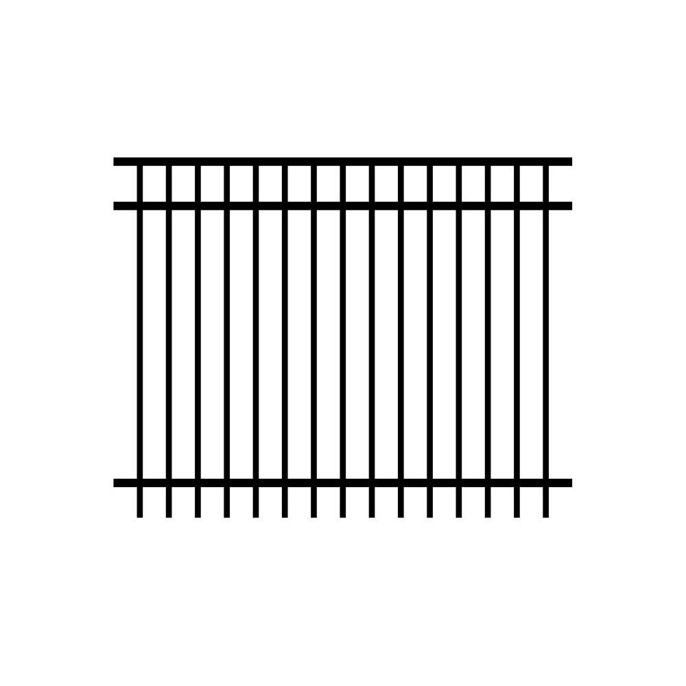 Cosmopolitan 5 ft. x 6 ft. Black Aluminum 3-Rail Assembled Fence