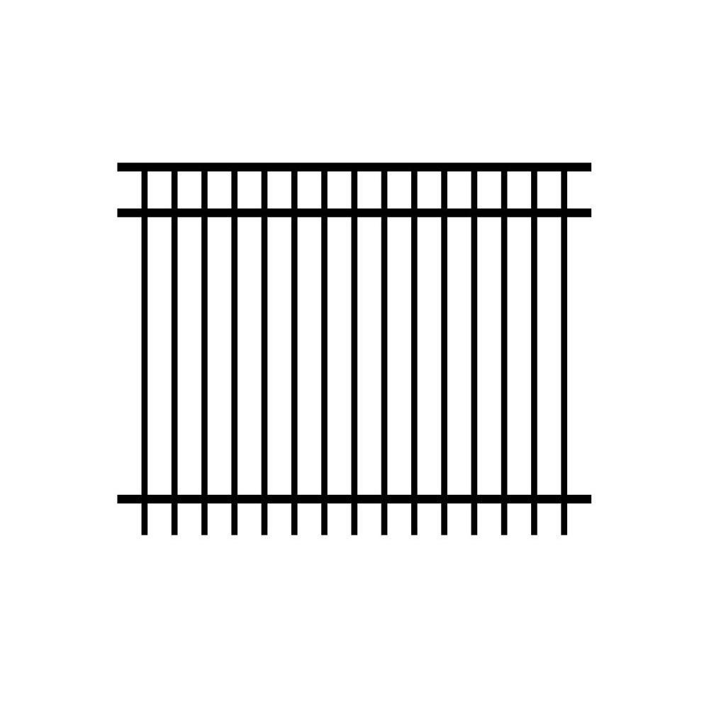 Jefferson 5 ft. H x 6 ft. W Black Aluminum 3-Rail Unassembled Fence Panel