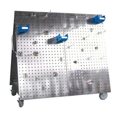 26-5/8 in. Mobile Utility Cart with Hook Assortment in Stainless Steel