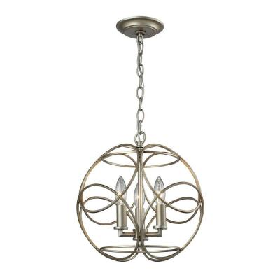 Chandette 3-Light Aged Silver Pendant