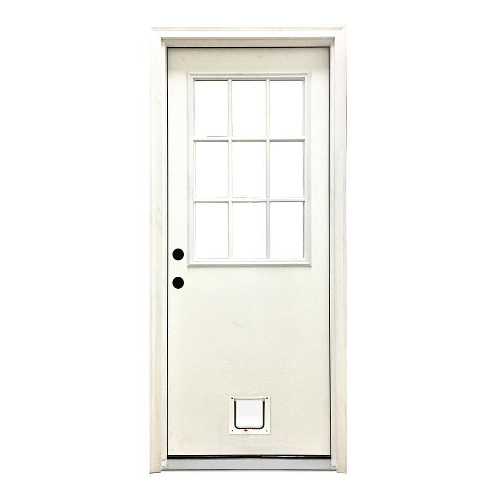 36 in. x 80 in. Classic 9 Lite RHIS White Primed Textured Fiberglass Prehung Front Door with Small Cat Door