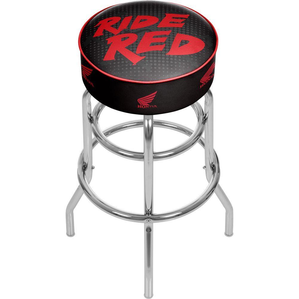 Trademark Honda Ride Red 31 in. Chrome Swivel Cushioned Bar Stool