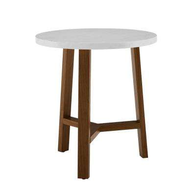 20 in. White Marble and Acorn Round Side Table