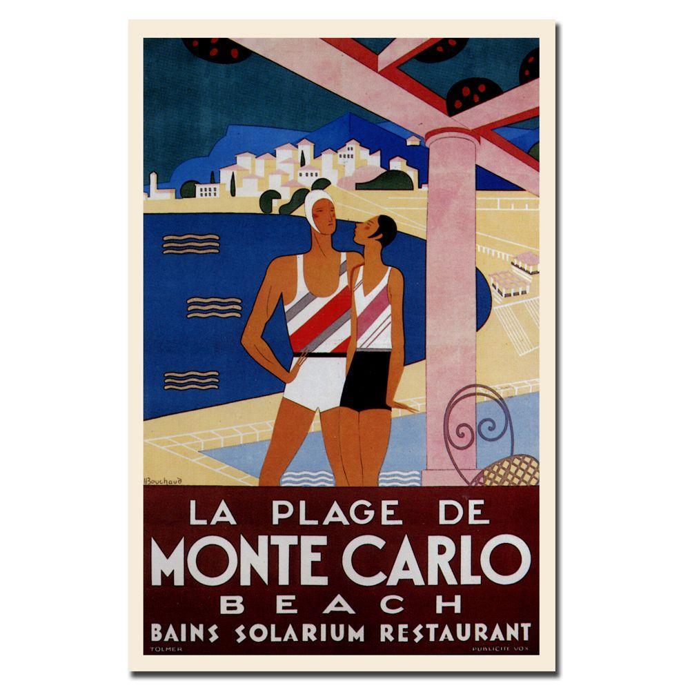 """18 in. x 24 in. """"La Plage de Monte Carlo"""" by Phillipe Bouchard Canvas Art"""