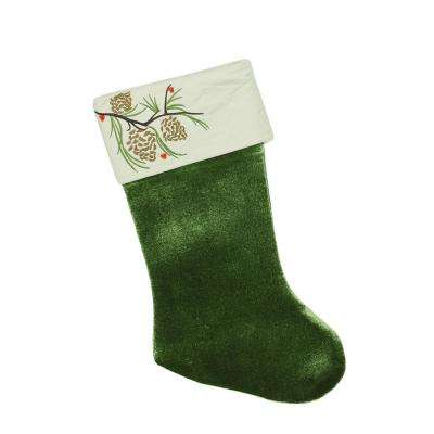 19 in. Traditional Green Pine Cone Suede Cuff Christmas Stocking