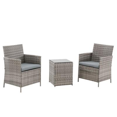 3-Piece Rattan Wicker Outdoor Bistro Set with Gray Cushions
