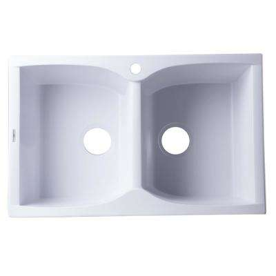 Drop-In Granite Composite 31.13 in. 1-Hole 50/50 Double Bowl Kitchen Sink in White