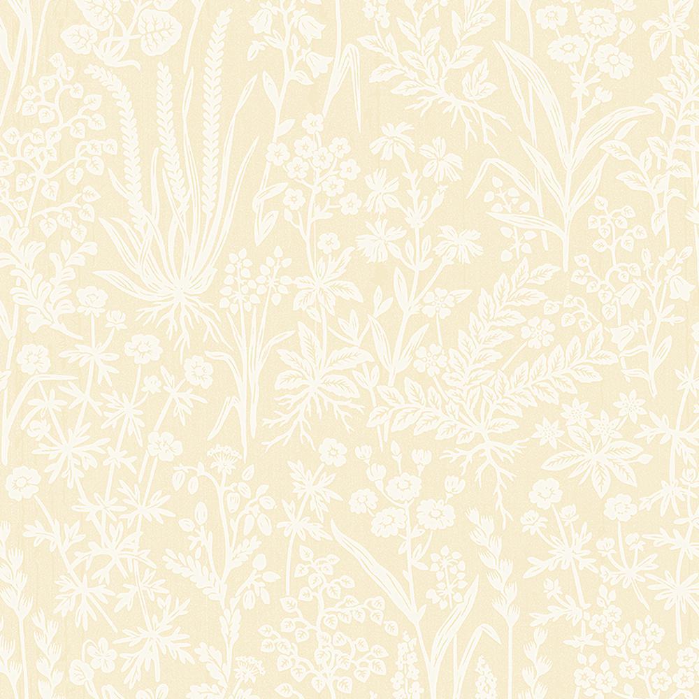 Brianne Yellow Botanical Wallpaper Sample