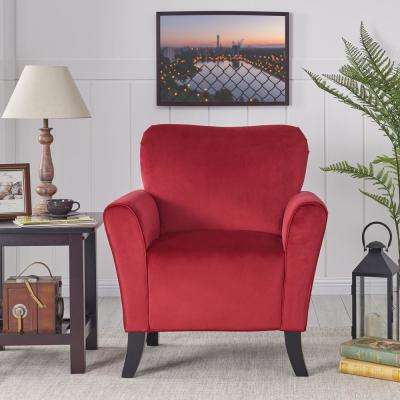 Sasha Ruby Red Velvet Flared Arm Chair