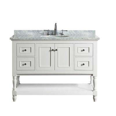 Cape Cod 48 in. Single Bath Vanity in White with Marble Vanity Top in Carrara White with White Basin