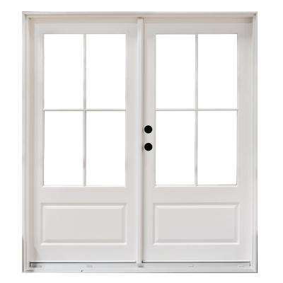 72 in. x 80 in. Fiberglass Smooth White Right-Hand Inswing Hinged 3/4-Lite Patio Door with 4-Lite GBG