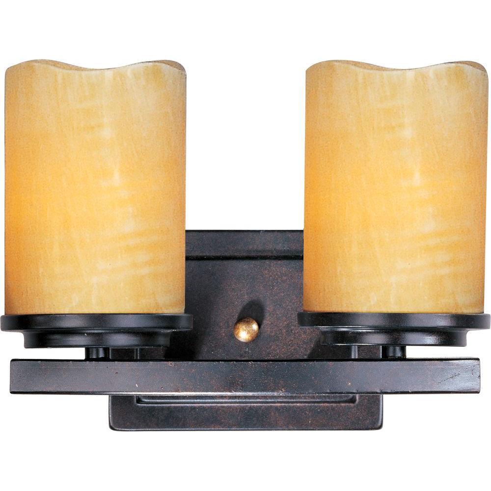 Luminous 2-Light Rustic Ebony Bath Vanity Light