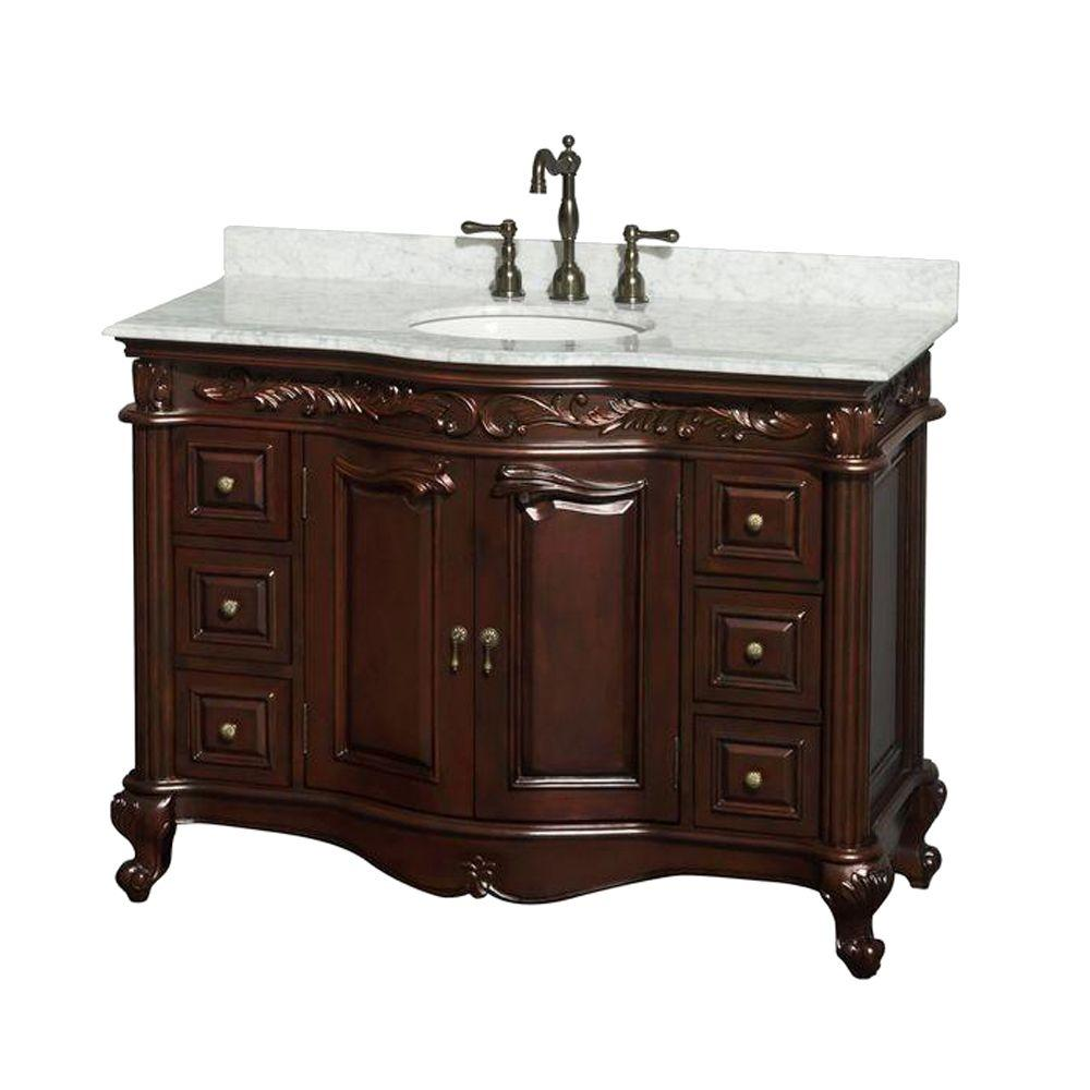 Wyndham Collection Edinburgh 48 in. Vanity in Cherry with Marble Vanity Top in White Carrara and Under-Mount Oval Sink