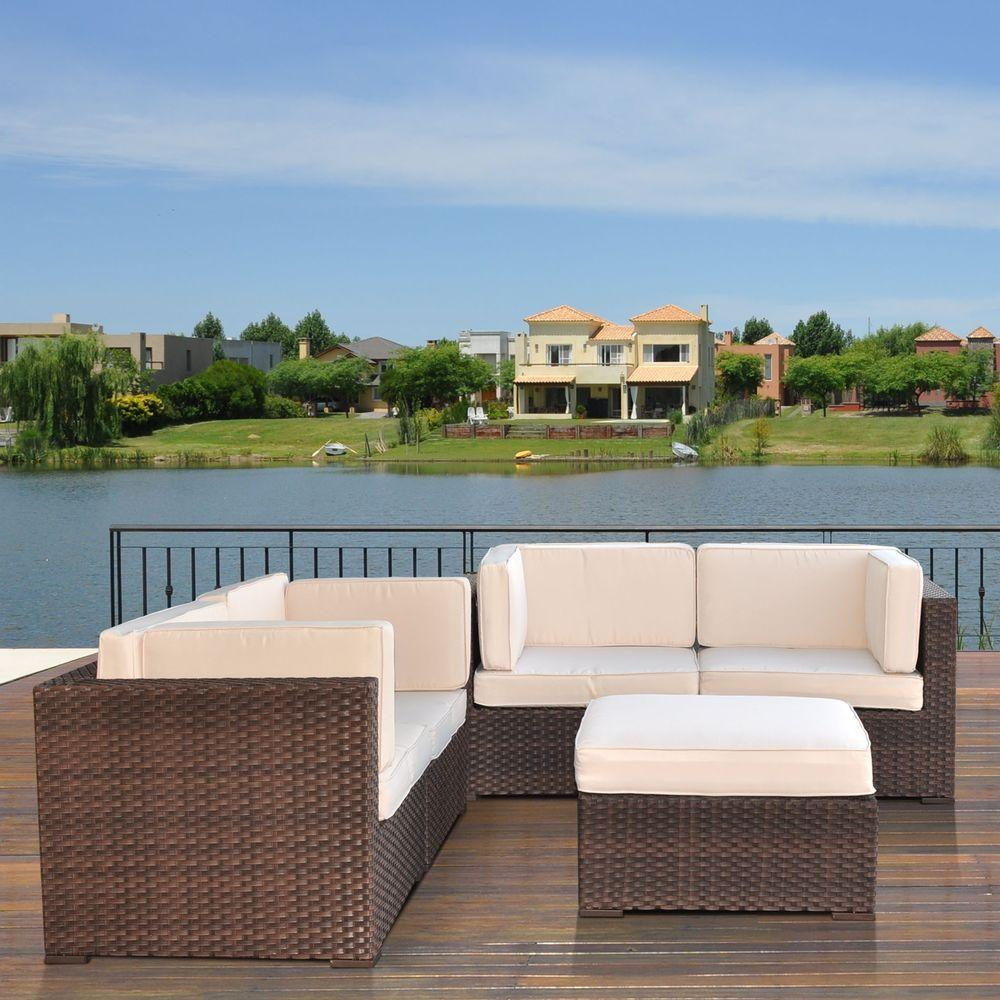 Atlantic Contemporary Lifestyle Nice Brown 5-Piece Patio Sectional Seating Set with Off-White Cushions