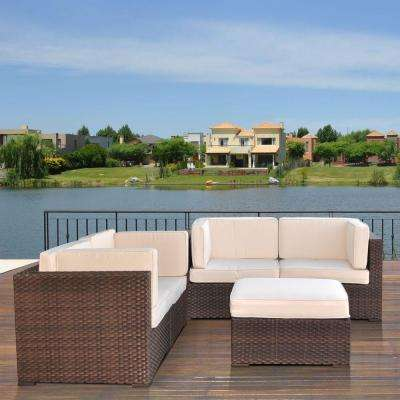 Nice Brown 5-Piece Patio Sectional Seating Set with Off-White Cushions