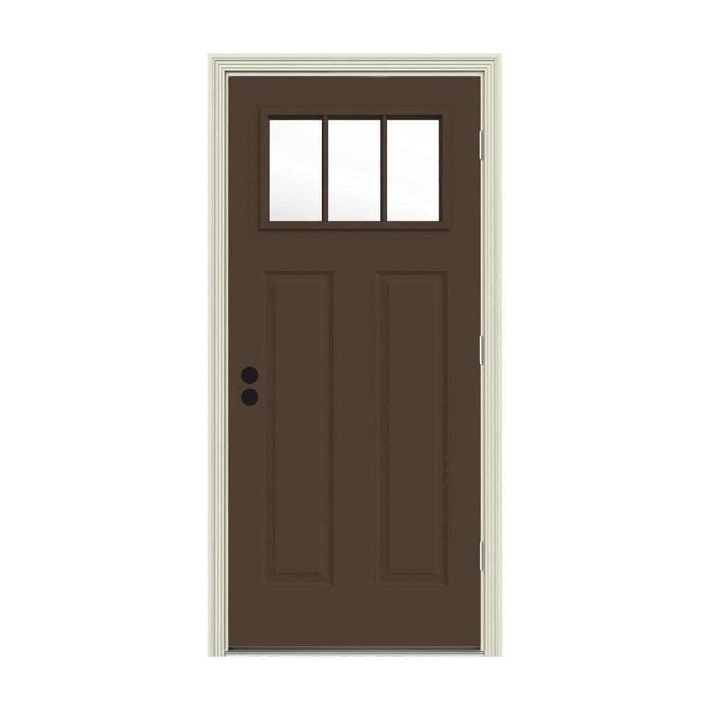 JELD-WEN 32 in. x 80 in. 3 Lite Craftsman Dark Chocolate Painted Steel Prehung Left-Hand Outswing Front Door w/Brickmould
