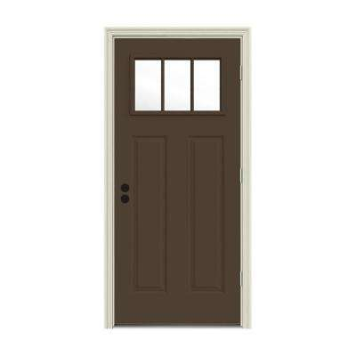 32 in. x 80 in. 3 Lite Craftsman Dark Chocolate Painted Steel Prehung Left-Hand Outswing Front Door w/Brickmould