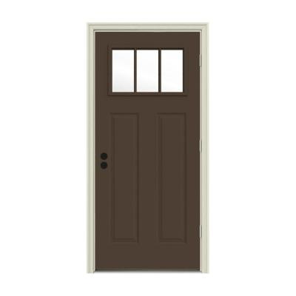 32 in. x 80 in. 3 Lite Craftsman Dark Chocolate Painted Steel Prehung Left-Hand Outswing Front Door w/Brickmould