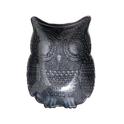 9.5 in. Harvest Owl Charcoal Glass Serving Plate with Figural Shape