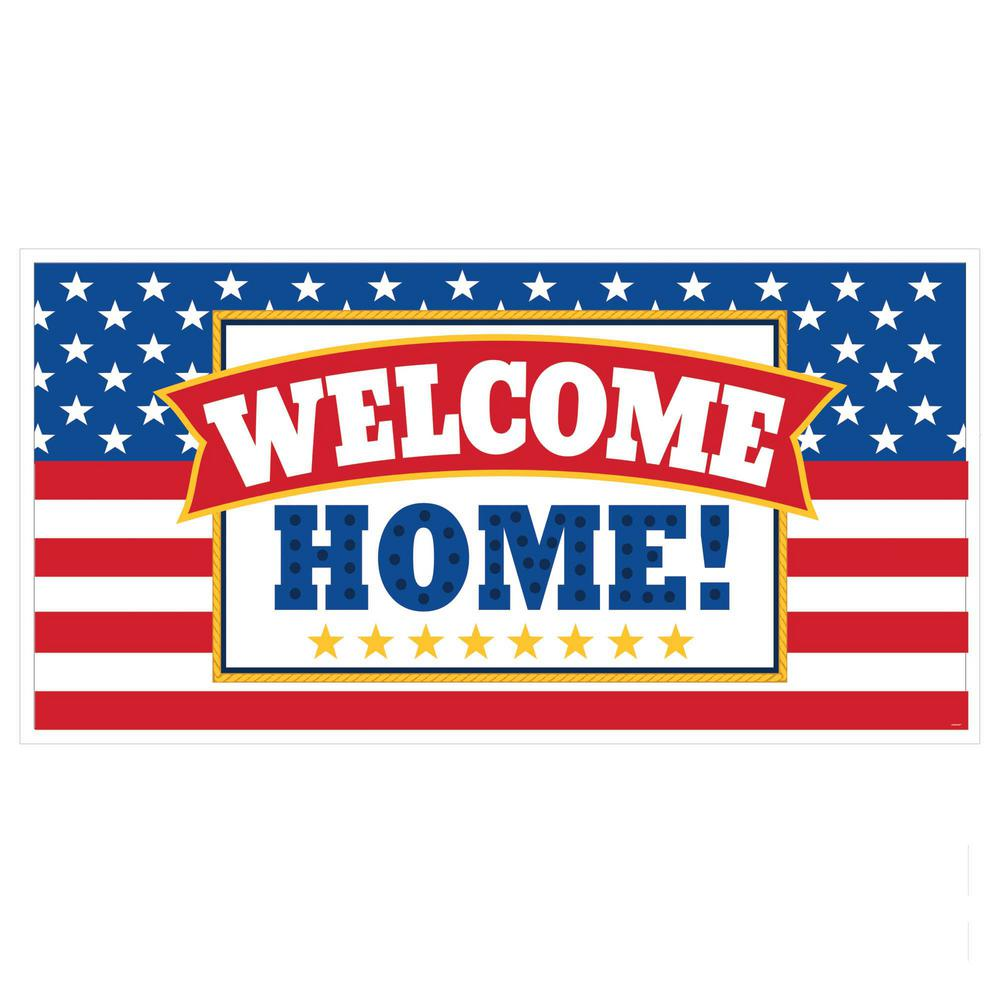 Welcome home flag banner related keywords welcome home for Patriotic welcome home decorations