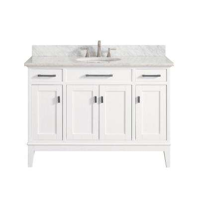 Madison 49 in. W x 22 in. D x 35 in. H Vanity in White with Marble Vanity Top in Carrera White with White Basin