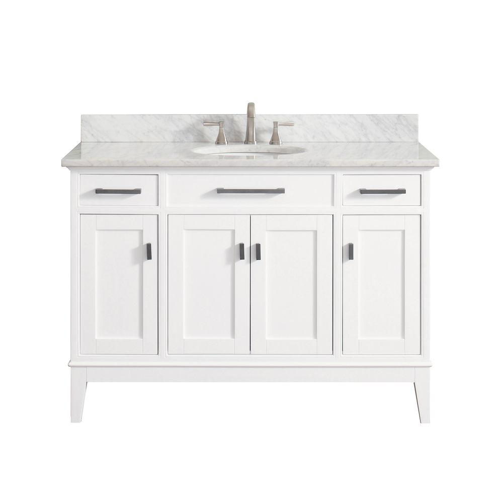 Avanity Madison 49 in. W x 22 in. D x 35 in. H Vanity in White with Marble Vanity Top in Carrera White with White Basin