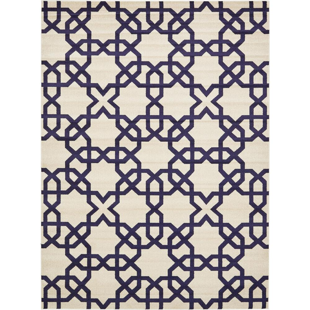 Trellis Beige and Navy Blue 9 ft. x 12 ft. Area