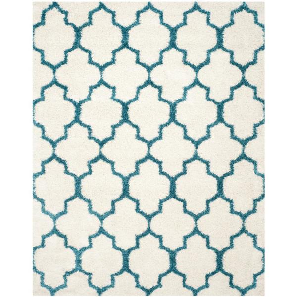 Kids Shag Ivory/Blue 9 ft. x 12 ft. Area Rug