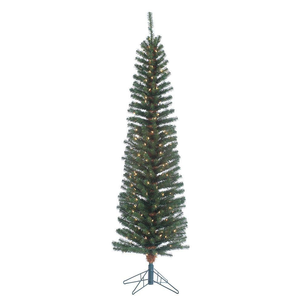 Pencil Christmas Trees Artificial Pre Lit