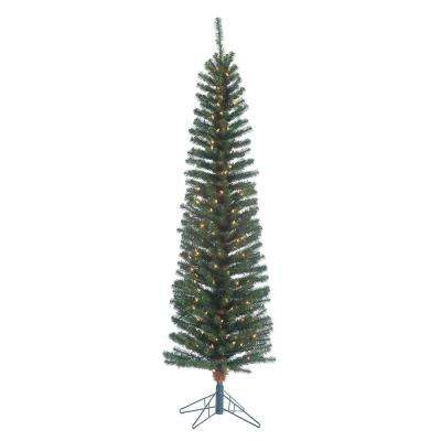 6.5 ft. Pre-Lit Narrow Pencil Fir Artificial Christmas Tree with Clear Lights