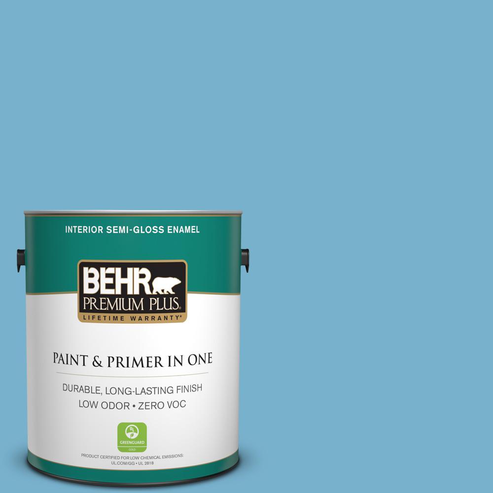 BEHR Premium Plus 1-gal. #M490-4 Frisky Blue Semi-Gloss Enamel Interior Paint