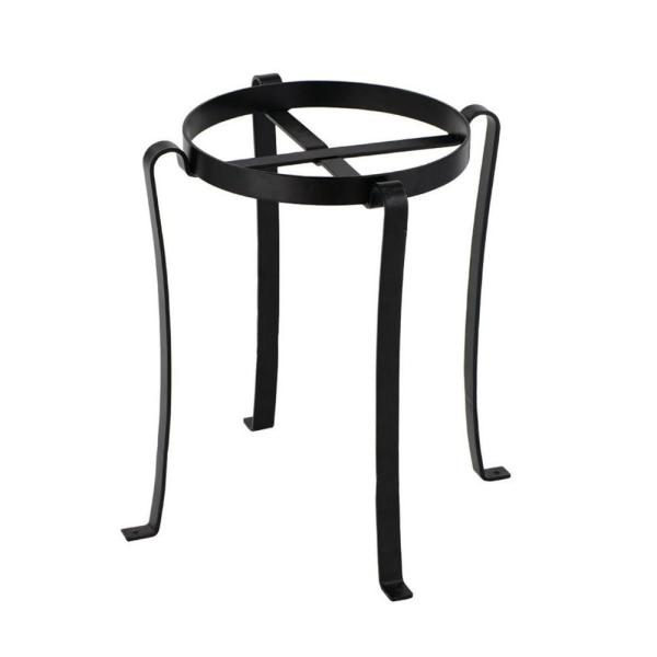 17 in. Tall Black Powder Coat Iron Small Helix I Flowerpot Plant Base Stand