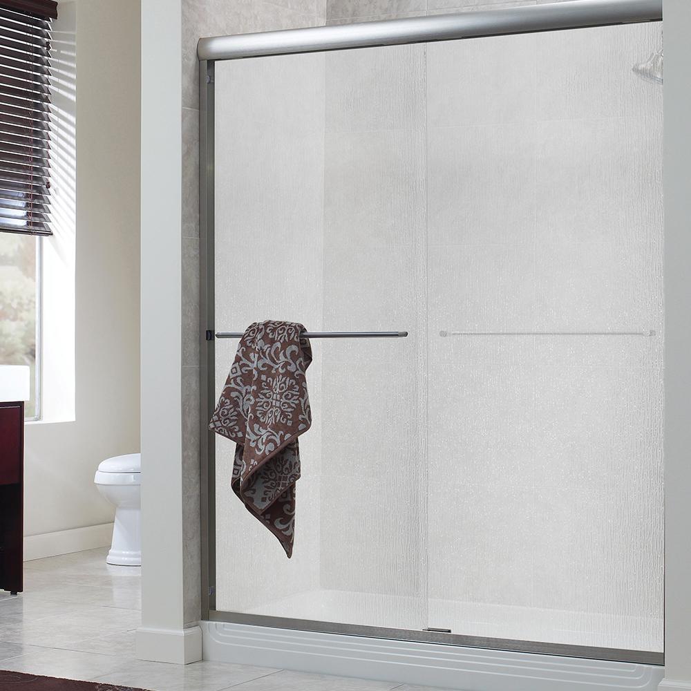 Cove 60 in. x 72 in. H Semi-Framed Sliding Shower Door in Silver with 1/4 in. Rain Glass