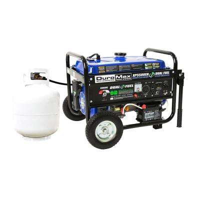 4500-Watt 7.5 HP Dual Fuel Gasoline/Propane Electric Start Powered Portable Generator with Wheel Kit