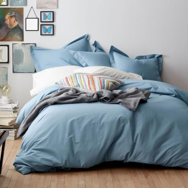 Organic 2-Piece Dusty Blue Solid Cotton Percale Twin Duvet Cover Set
