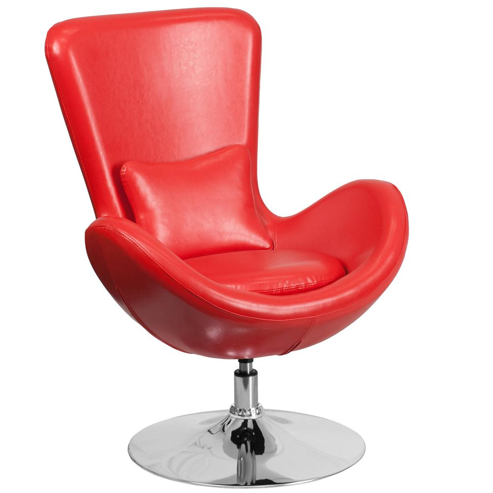 Flash Furniture Red Leather Egg Series Reception Lounge Side Chair