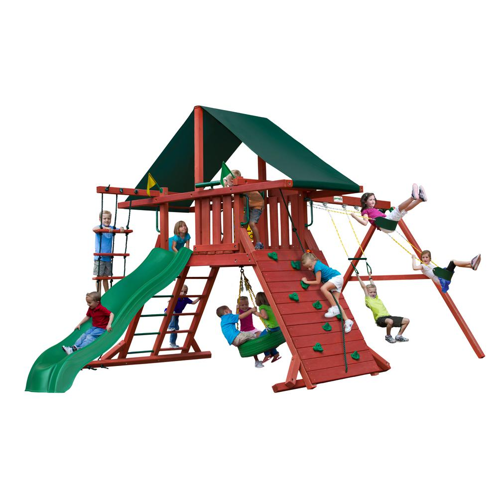 Gorilla Playsets Sun Climber I Wooden Playset with Sunbrella® Canvas Forest Green Canopy and Tire Swing