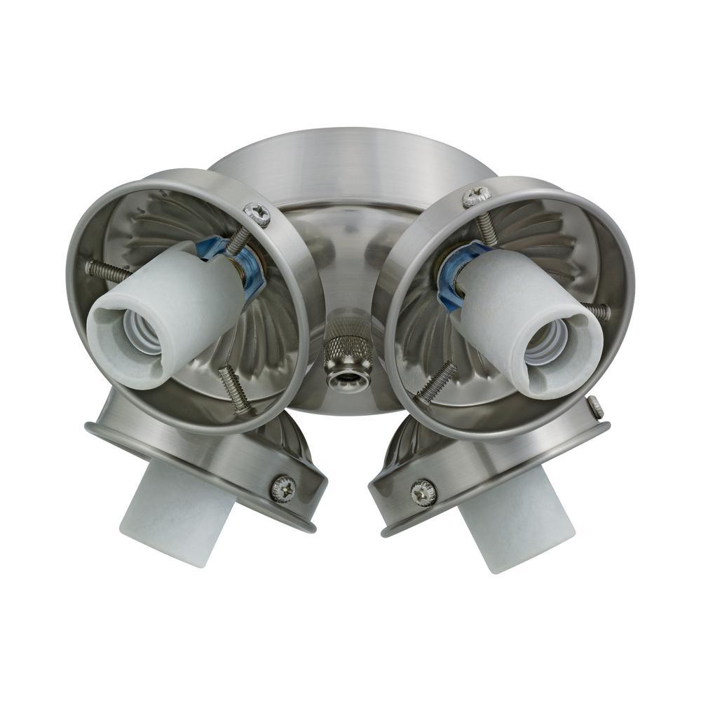 4-Light Brushed Steel Fitter Ceiling Fan Light
