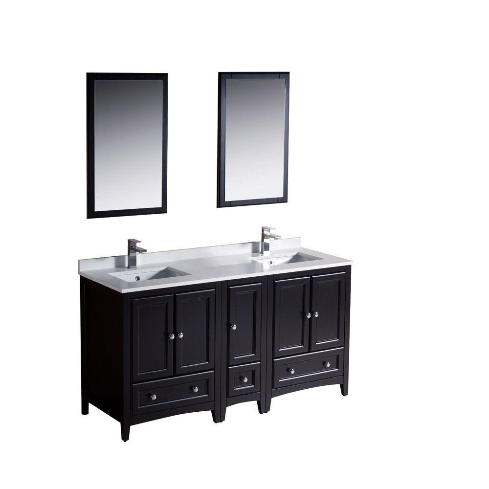 Fresca Oxford 60 In. Double Vanity In Espresso With Ceramic Vanity Top In  White With White Basins And Mirror With Side Cabinet-FVN20-241224ES - The  Home