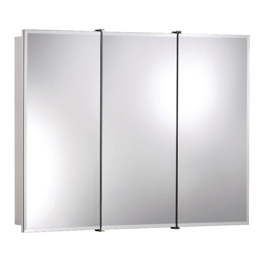 Ashland 36 in. W x 28 in. H x 4-3/4 in. D Frameless Surface-Mount Bathroom Medicine Cabinet with Beveled Mirror