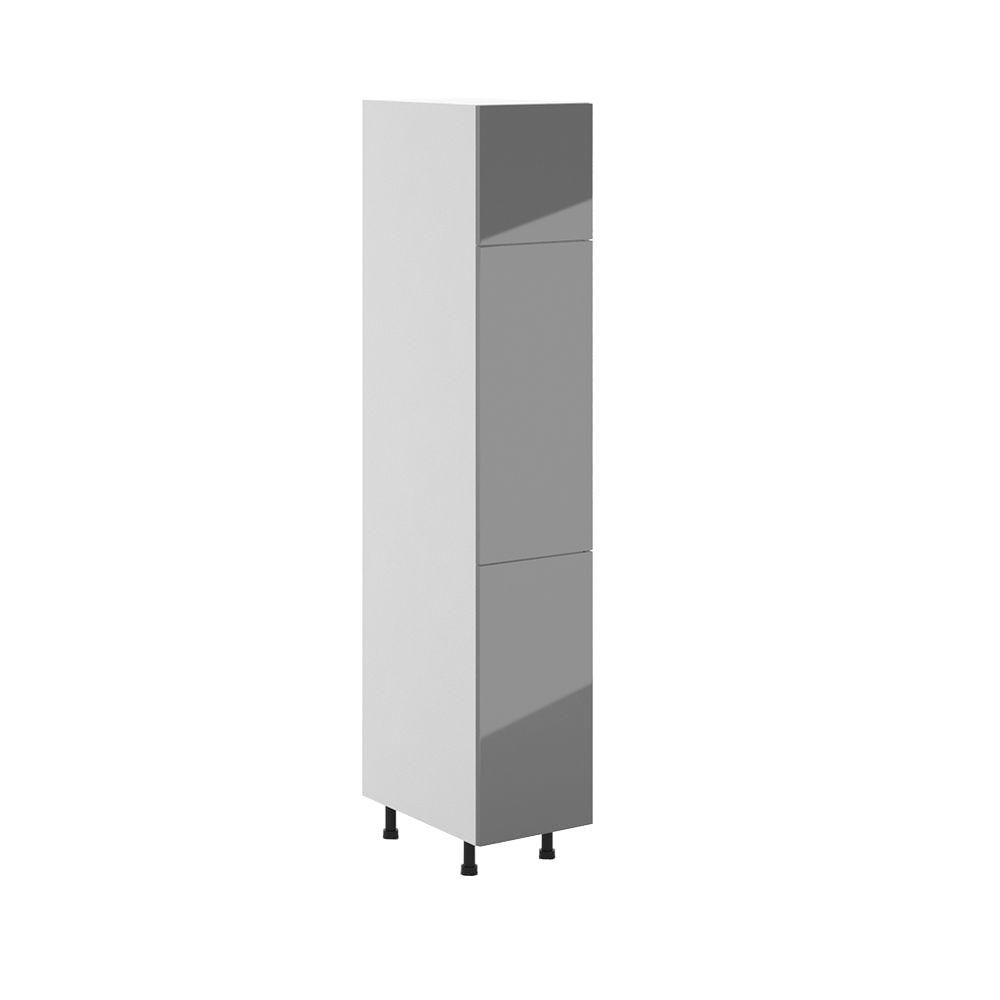 Eurostyle Cordoba Ready to Assemble 15.125 x 83.625 x 24.375 in. Pantry/Utility Cabinet in White Melamine and Door in Gray