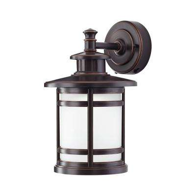 Oil Rubbed Bronze Motion Sensor Outdoor Integrated Led Wall Lantern Sconce
