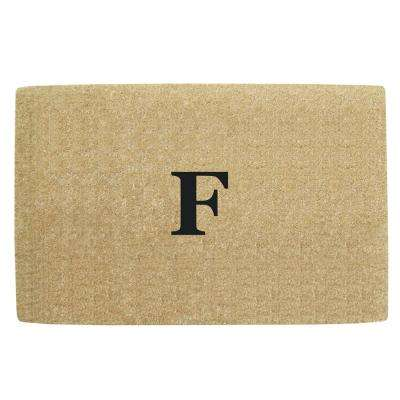 No Border 30 in. x 48 in. Heavy Duty Coir Monogrammed F Door Mat
