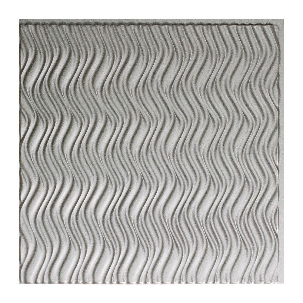 Current Vertical - 2 ft. x 2 ft. Glue-up Ceiling Tile in Argent Silver