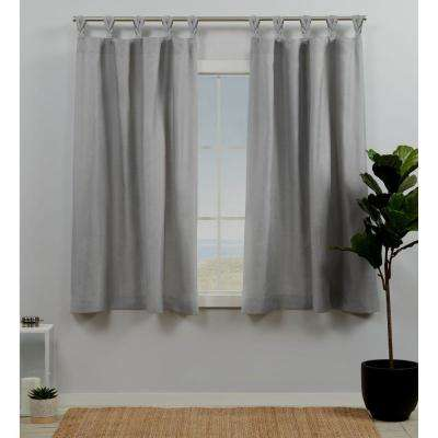 Loha Dove Grey Light Filtering Tab Top Curtain Panel 54 in. W x 63 in. L (2 Panels)