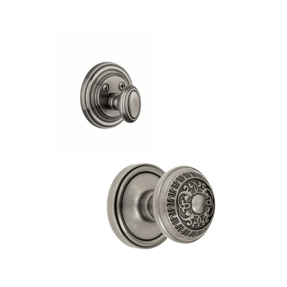 Grandeur Georgetown Single Cylinder Antique Pewter Combo Pack Keyed Differently with Windsor Knob and Matching Deadbolt