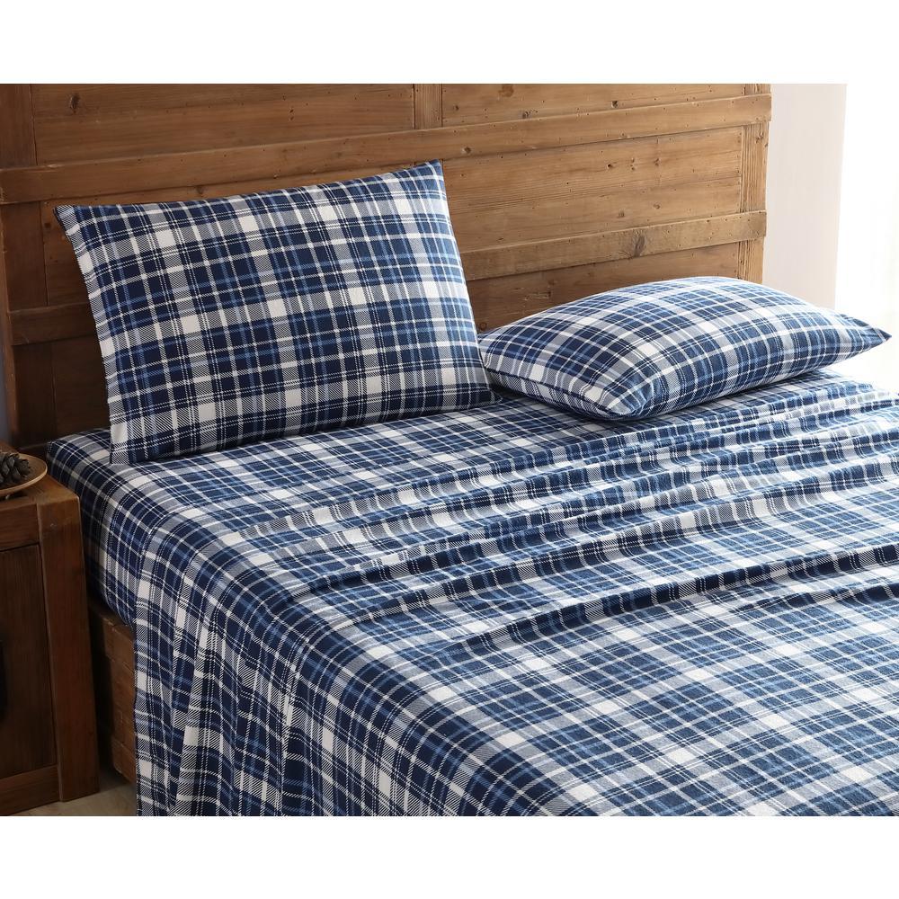 Morgan Home Geraldine 100 Cotton Navy Flannel King Sheet Set The Home Depot