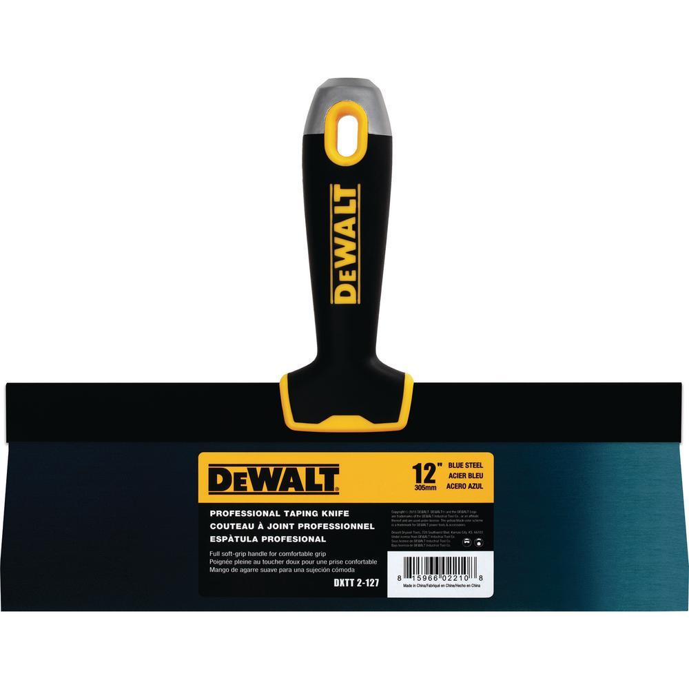 DEWALT 12 in. Blue Steel Hammer-End Taping Knife with Soft Grip Handle